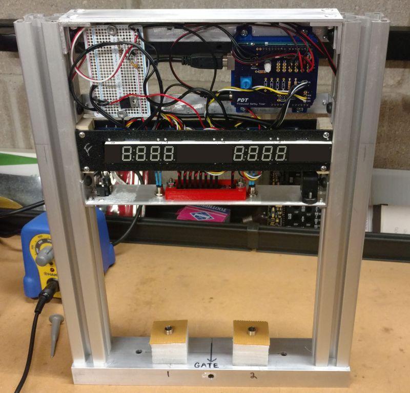 Final Test Arduino Pinewood Derby Timer - YouTube